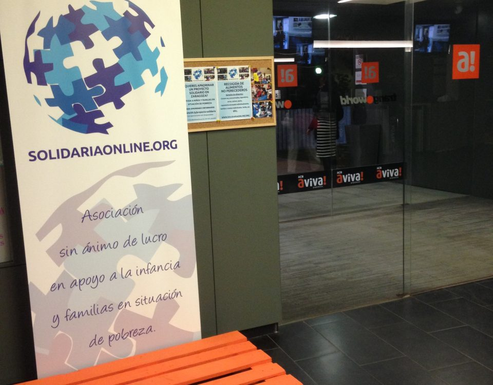 Recogida alimentos gimnasio ACB Aviva Zaragoza para Solidariaonline
