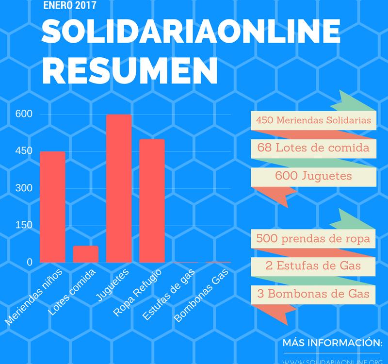 Resumen de actuaciones de la asociación Solidariaonline Enero 2017