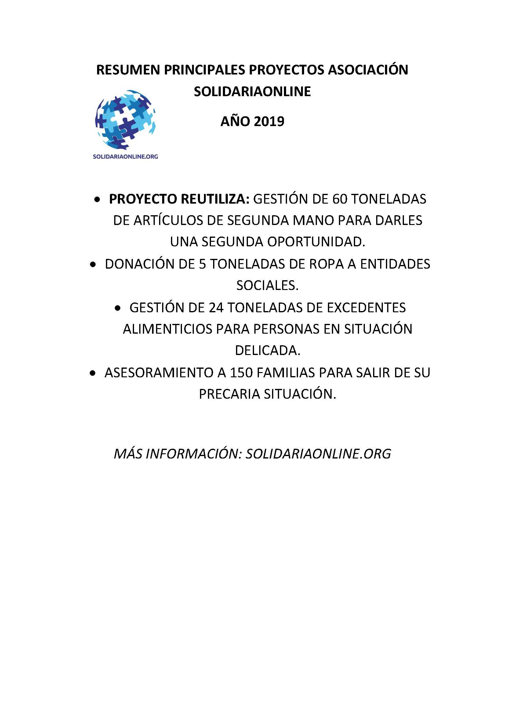 RESUMEN PRINCIPALES PROYECTOS ASOCIACIÓN SOLIDARIAONLINE 2019